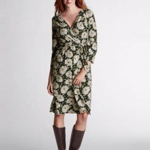 LANDS END Green White Floral 3/4 Sleeve Wrap Dress